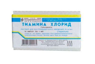 Упаковка тиамина в ампулах