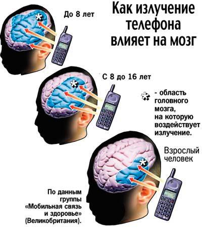 Влияние излучения сотового телефона на мозг