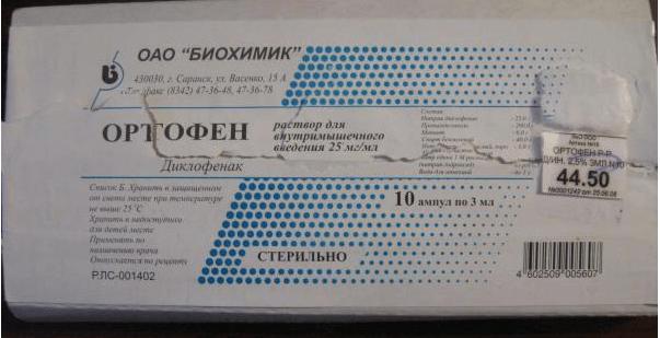 Ортофен уколы